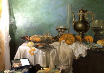 Копия картины Виллема Класа Хеды маслом для интерьера кухни