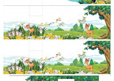 эскиз-развёртка для росписи детской комнаты